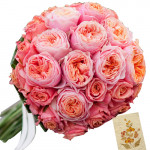 Care - 12 Pink Roses Bunch + Card
