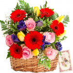 "Greet ""N"" Gift - 35 Assorted Flowers Basket + Card"