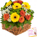 Ever Caring Love - 30 Exotic Flowers Basket + Card