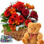 """Floral Feelings - 6 Red Gerberas & 6 Red Roses + 6 Carnations Basket + Teddy 6"""" + Card"""
