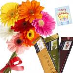Bunch Of Love - 10 Gerberas Bouquet + 3 Temptation + Card