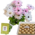 Sweet Feelings - 24 Pink & White Gerberas Bunch + Ferraro Rocher 24 pcs + Card