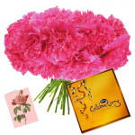 Beauty of Pink - 15 Pink Carnations Bouquet + Cadbury's Celebrations 128 gms + Card