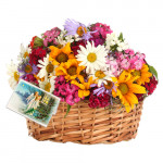 Remembering You - 20 Assorted Flowers Basket + Card