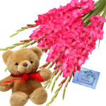 "Passionable Pink - 20 Pink Gladiolus in Bunch + Teddy 8"" + Card"