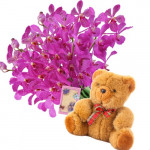 "Simply Beautiful - 12 Purple Orchids + Teddy 6"" + Card"