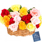 Fragrance Of Love - 12 Mix Roses Basket + Card