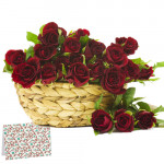 Thinking Of You - 20 Red Roses Basket + Card