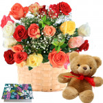 "Ever Caring Love - 20 Mix Roses Basket + Teddy 8"" + Card"