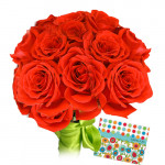 Simple Touch - 25 Red Roses Bunch + Card