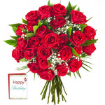 Bright Sunshine - 30 Red Roses Bunch + Card