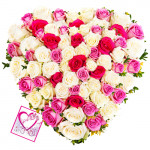 True Love - Heart Shaped 125 Mix Roses + Card
