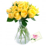 Yellow Roses - 15 Yellow Roses in Vase + Card