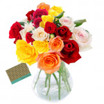 Gift of Love - 30 Mix Roses in Vase + Card