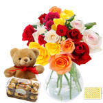 Happiness Forever - 24 Mix Roses in Vase + Teddy 6' + Ferrero Rocher 16 pcs+ Card