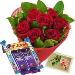Choco Treat - 15 Red Roses + 5 Cadbury Chocolates + Card