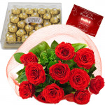 Ferrero Chocos - 10 Red Roses + Ferrero Rocher 24 pcs + Card
