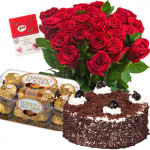 Miss You - 12 Red Roses + Ferrero Rocher 16 pcs + 1/2kg Cake + Card