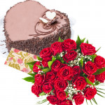 Cake Treat - 15 Red Roses + Chocolate Heart Cake 1kg + Card