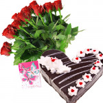 Roses & Black Forest Cake - 15 Red Roses + Black Forest Heart Cake 1kg + Card