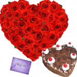 Beauty of Heart - Heart Shape of 40 Red Roses + Black Forest Heart Cake 1kg + Card