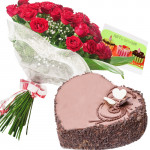 Chocolaty Love - 15 Red Roses + Heart Cake 2kg + Card