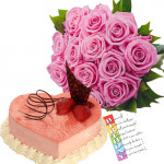Pink Treat - 15 Pink Roses + Heart Cake 1kg + Card