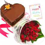 Sweet Moments - 25 Red Roses + Heart Cake 1kg + Card