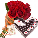 Lovely Wish - 20 Red Roses + Heart Cake 2kg + Card