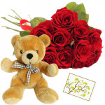Fragrance of Love - 20 Red Roses + Teddy 6' + Card