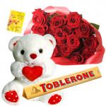 "Red Heart & Teddy - 30 Red Roses + Teddy with Heart 8"" + Toblerone 50gms + Card"
