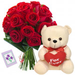 Roses & Teddy - 20 Red Roses + Teddy with Heart 8' + Card