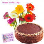 Flowers and Cake - 12 Gerberas in Bunch, 1/2 kg Chocolate Cake and Card