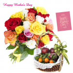 12 Mix Roses Bouquet, 2 Kg Mix Fruits in Basket and Mother's Day Greeting Card