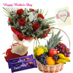 12 Red Roses Bouquet, 3 Kg Fruits in Basket, 2 Dairy Milk 20 gms Each and Mother's Day Greeting Card