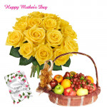 12 Yellow Roses Bouquet, 3 Kg Fruits in Basket and Mother's Day Greeting Card
