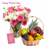 15 Pink & White Roses in Vase, 4 kg Mix Fruits Basket and Mother's Day Greeting Card
