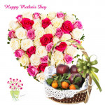 Heart Shaped Arrangement of 30 Roses, 2 Kg Mix Fruits in Basket and Mother's Day Greeting Card