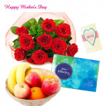 12 Red Roses Bouquet, Celebrations, 1 kg Fruits in Basket and Mother's Day Greeting Card