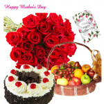 20 Red Roses Bouquet, Black Forest Cake 1/2 Kg, 2 Kg Fruits in Basket and Mother's Day Greeting Card