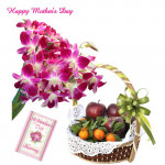 6 Purple Orchids Bouquet, 2 Kg Mix Fruits in Baket and Mother's Day Greeting Card