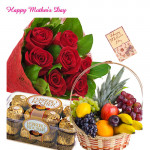 15 Red Roses Bouquet, Ferrero Rocher 16 pcs, 2 Kg Fruits in Basket and Mother's Day Greeting Card