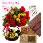 12 Red & Yellow Roses Bouquet, 2 Kg Mix Fruits in Basket, 200 gms Assorted Dryfruits and Mother's Day Greeting Card
