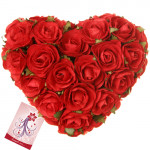 25 Red Roses Heart - Heart Shaped Arrangement 25 Red Roses + Card