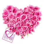 Pink Heart - 30 Pink Roses Heart Shaped Arrangement + Card