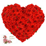 Roses Heart - 50 Red Roses Heart Shaped Arrangement + Card