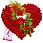 Heart with Love - 150 Red Roses Heart Shaped Arrangement + Card