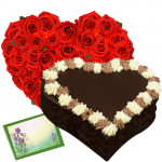 Hearty Treat - 50 Red Roses Heart Shaped + Chocolate Heart Cake 1 kg + Card