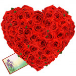 75 Roses Heart - 75 Red Roses Heart Shaped Arrangement + Card