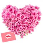 Romantic Heart - 100 Pink Roses Heart Shaped Arrangement + Card